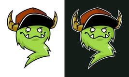 Fumetto che ghigna la mascotte del troll con i corni in cappuccio royalty illustrazione gratis