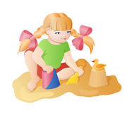 Fumetto che gioca ragazza illustrazione vettoriale