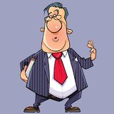 Fumetto che parla uomo divertente in un vestito con un legame e un libro illustrazione vettoriale