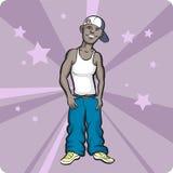 Fumetto che si leva in piedi il tizio di stile di hip-hop illustrazione di stock