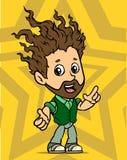 Fumetto che sta il carattere barbuto dai capelli lunghi del ragazzo illustrazione di stock