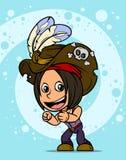 Fumetto che sta il carattere castana della ragazza del pirata illustrazione di stock