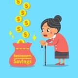 Fumetto che una donna anziana con il risparmio di pensionamento insacca Immagini Stock Libere da Diritti
