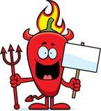 Fumetto Chili Pepper Devil Sign Fotografia Stock Libera da Diritti