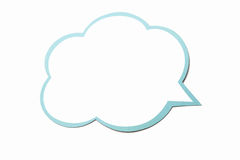 Fumetto come nuvola con il confine blu isolato su fondo bianco Copi lo spazio Fotografie Stock