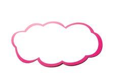 Fumetto come nuvola con il confine rosa isolato su fondo bianco Copi lo spazio Immagine Stock