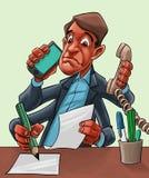Fumetto comico di un'elaborazione multitask dell'uomo Fotografia Stock