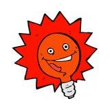 fumetto comico istantaneo della lampadina felice della luce rossa Immagine Stock