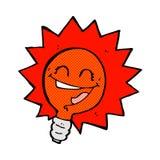 fumetto comico istantaneo della lampadina felice della luce rossa Fotografia Stock Libera da Diritti