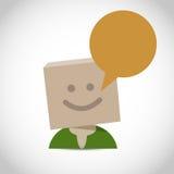 Fumetto con la testa della scatola Fotografie Stock