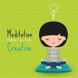 Fumetto creativo della donna di meditazione Fotografia Stock