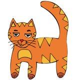 Fumetto dalla testa rosso del gattino di vettore del gatto Immagini Stock Libere da Diritti