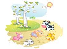 Fumetto degli animali da allevamento che posa nel giardino della via illustrazione vettoriale