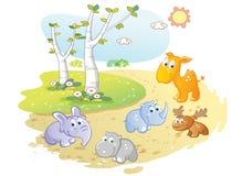 Fumetto degli animali giovani che posa nel giardino della via illustrazione di stock