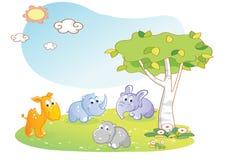 Fumetto degli animali giovani con il fondo del giardino royalty illustrazione gratis