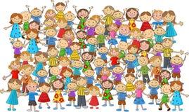 Fumetto dei bambini della folla illustrazione vettoriale