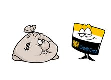 Fumetto dei caratteri di affari della carta di credito dei soldi del sacco Immagine Stock Libera da Diritti