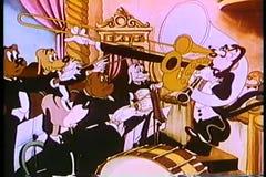 Fumetto dei musicisti che commutano i ruoli con il conduttore video d archivio