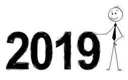 Fumetto dei numeri di anno 2019 di Standing Near Big dell'uomo d'affari Immagine Stock Libera da Diritti