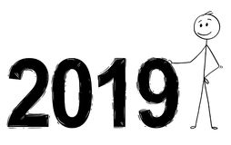 Fumetto dei numeri di anno 2019 di Standing Near Big dell'uomo d'affari o dell'uomo Immagine Stock