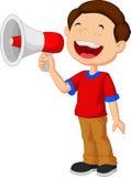 Fumetto del bambino che grida in un megafono illustrazione vettoriale