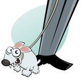 Fumetto del cane sul guinzaglio del cane Fotografie Stock