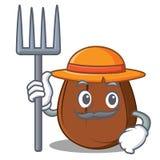 Fumetto del carattere del chicco di caffè dell'agricoltore Fotografie Stock Libere da Diritti