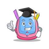 Fumetto del carattere della borsa di scuola di graduazione illustrazione vettoriale