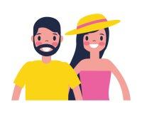 Fumetto del carattere della donna e dell'uomo illustrazione di stock