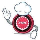 Fumetto del carattere della moneta di FunFair del cuoco unico illustrazione vettoriale