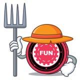 Fumetto del carattere della moneta di FunFair dell'agricoltore illustrazione vettoriale