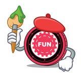 Fumetto del carattere della moneta di FunFair dell'artista illustrazione vettoriale