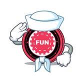Fumetto del carattere della moneta di FunFair del marinaio illustrazione di stock