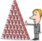 Fumetto del castello di carte e dell'uomo d'affari Immagini Stock Libere da Diritti
