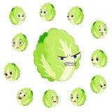 Fumetto del cavolo cinese con molte espressioni Immagine Stock