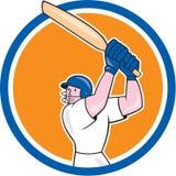 Fumetto del cerchio dell'ovatta del battitore del giocatore del cricket Fotografie Stock