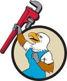 Fumetto del cerchio di Eagle Raising Up Pipe Wrench dell'idraulico Immagini Stock