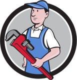Fumetto del cerchio di Holding Pipe Wrench del tuttofare Immagine Stock
