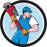 Fumetto del cerchio di Holding Pipe Wrench dell'idraulico Fotografia Stock