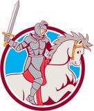 Fumetto del cerchio di Riding Horse Sword del cavaliere Fotografie Stock Libere da Diritti