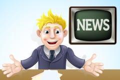 Fumetto del commentatore del notiziario della TV Fotografie Stock Libere da Diritti