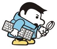 Fumetto del computer dell'agente investigativo Fotografie Stock Libere da Diritti