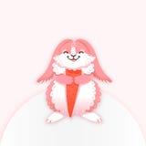 Fumetto del coniglio che mangia una carota Coniglietto divertente Lepre sveglia Illustrazione di vettore Immagini Stock Libere da Diritti