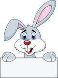 Fumetto del coniglio con il segno in bianco Immagini Stock Libere da Diritti