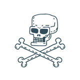Fumetto del cranio Testa dello scheletro che attinge fondo bianco Fotografia Stock