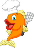 Fumetto del cuoco unico del pesce Immagine Stock Libera da Diritti