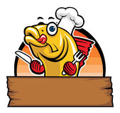 Fumetto del cuoco unico del pesce Immagini Stock