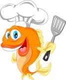 Fumetto del cuoco unico del pesce Fotografia Stock