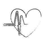 Fumetto del cuore con il DES dell'illustrazione di vettore di immagine dell'icona del cardiogramma Fotografia Stock Libera da Diritti