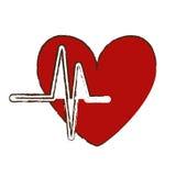 Fumetto del cuore con il DES dell'illustrazione di vettore di immagine dell'icona del cardiogramma Fotografia Stock